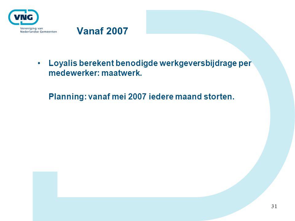 Vanaf 2007 Loyalis berekent benodigde werkgeversbijdrage per medewerker: maatwerk.