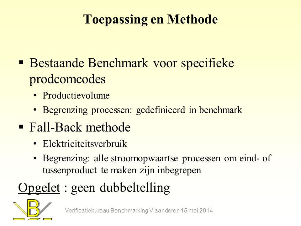 Bestaande Benchmark voor specifieke prodcomcodes