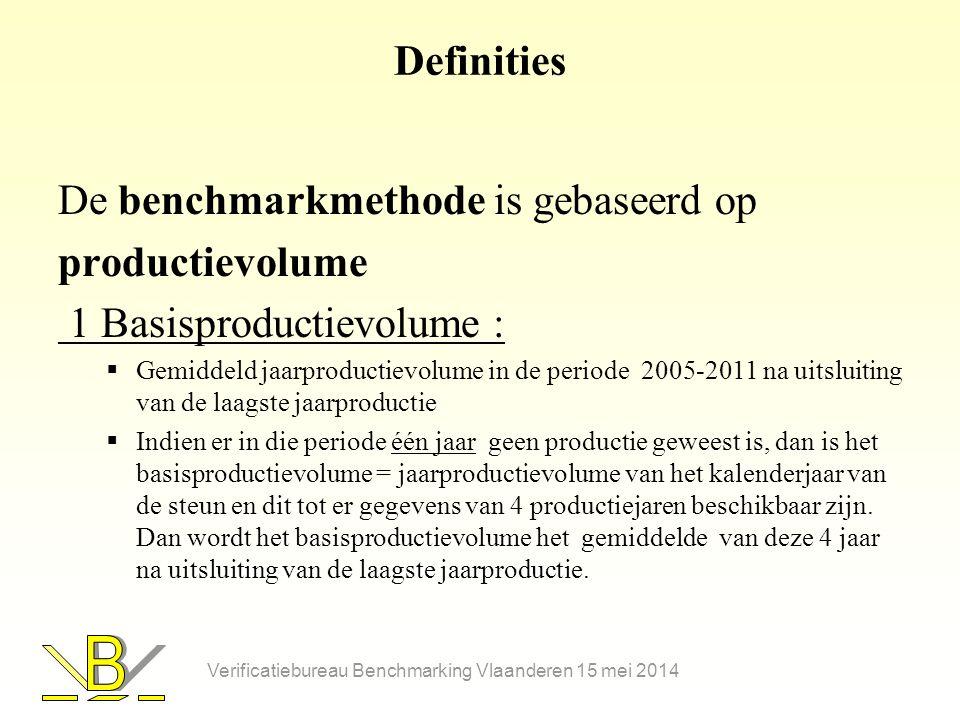 De benchmarkmethode is gebaseerd op productievolume