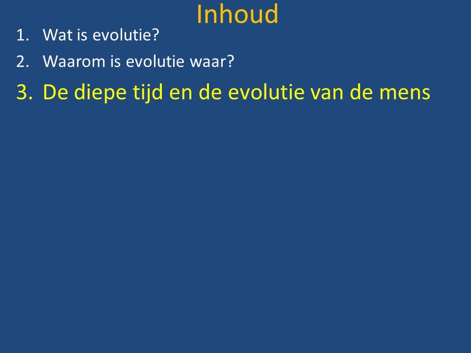 Inhoud De diepe tijd en de evolutie van de mens Wat is evolutie