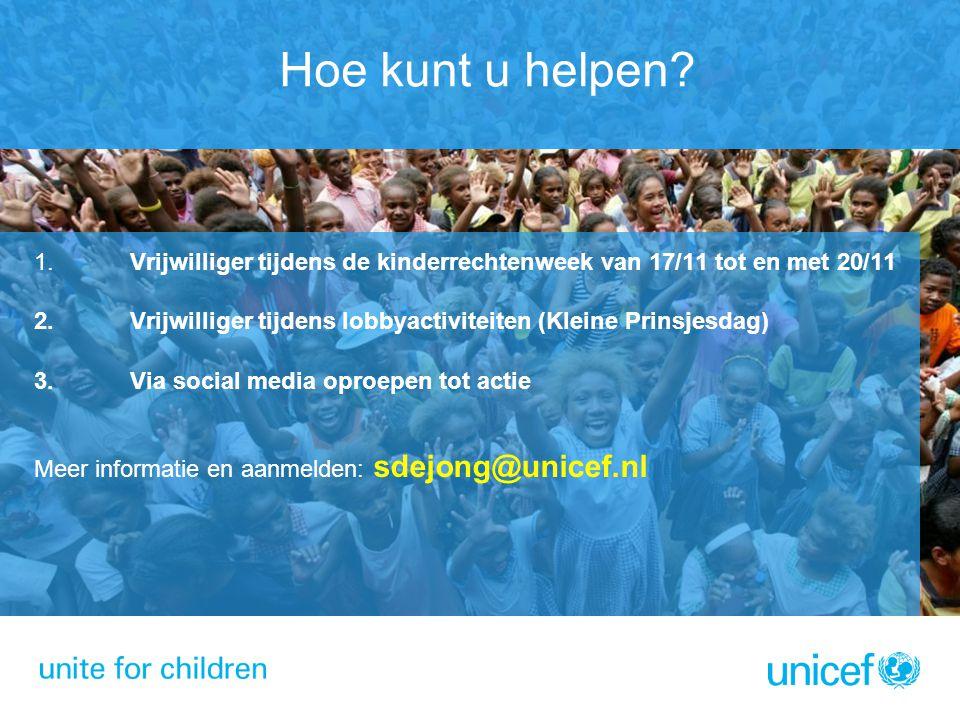 Hoe kunt u helpen Vrijwilliger tijdens de kinderrechtenweek van 17/11 tot en met 20/11. Vrijwilliger tijdens lobbyactiviteiten (Kleine Prinsjesdag)