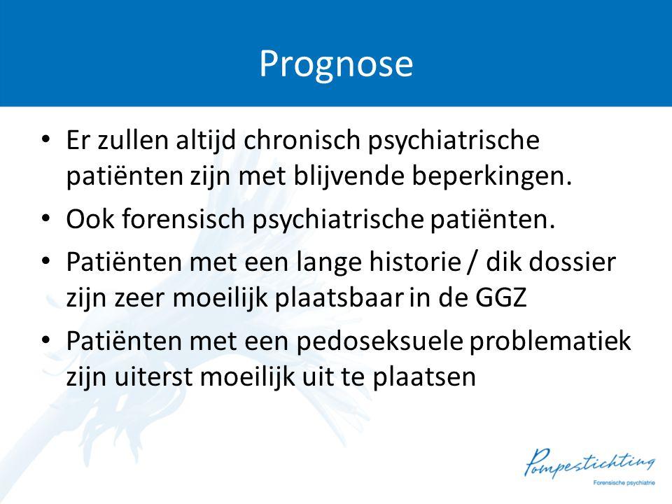 Prognose Er zullen altijd chronisch psychiatrische patiënten zijn met blijvende beperkingen. Ook forensisch psychiatrische patiënten.