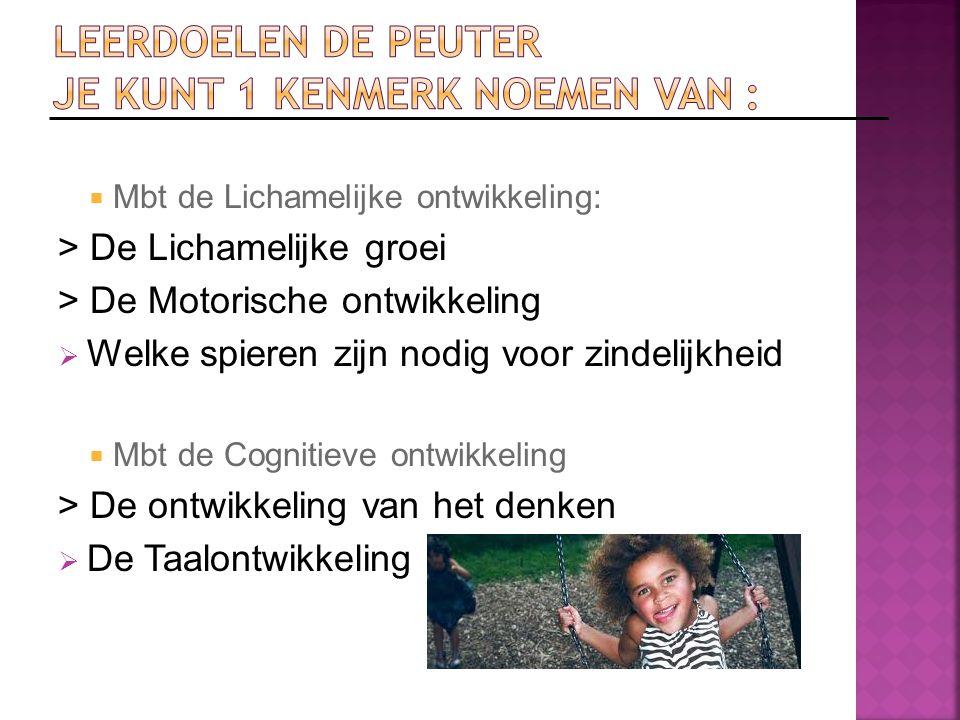 Leerdoelen De Peuter je kunt 1 kenmerk noemen van :