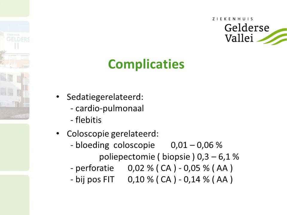 Complicaties Sedatiegerelateerd: - cardio-pulmonaal - flebitis