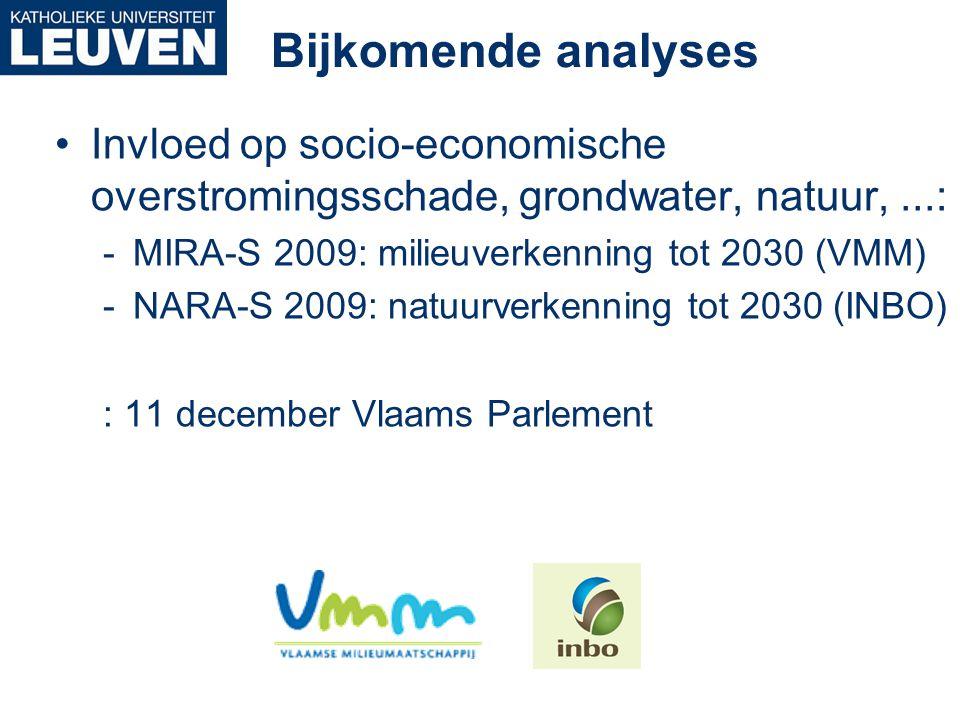 Bijkomende analyses Invloed op socio-economische overstromingsschade, grondwater, natuur, ...: MIRA-S 2009: milieuverkenning tot 2030 (VMM)