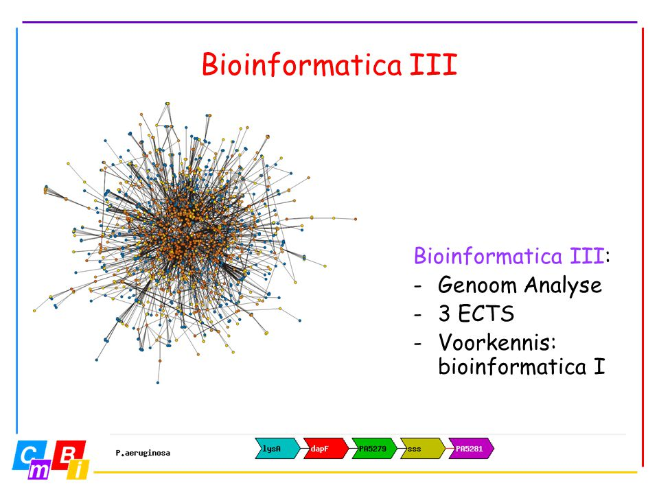 Bioinformatica III Bioinformatica III: Genoom Analyse 3 ECTS
