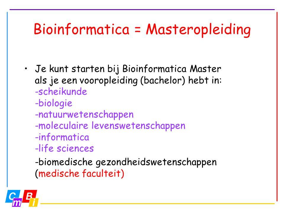 Bioinformatica = Masteropleiding