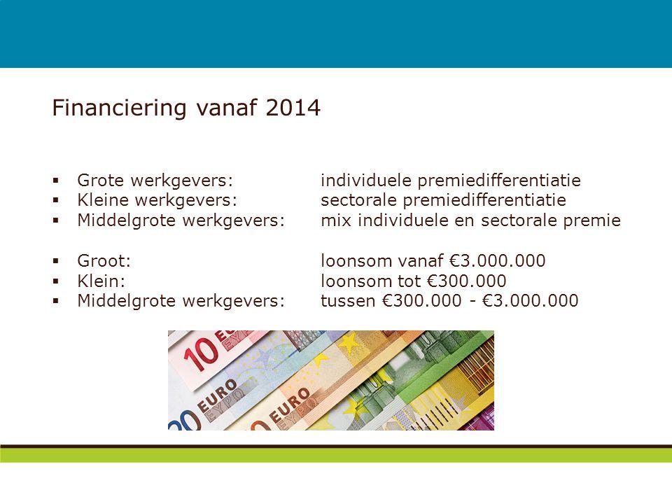 Financiering vanaf 2014 Grote werkgevers: individuele premiedifferentiatie. Kleine werkgevers: sectorale premiedifferentiatie.