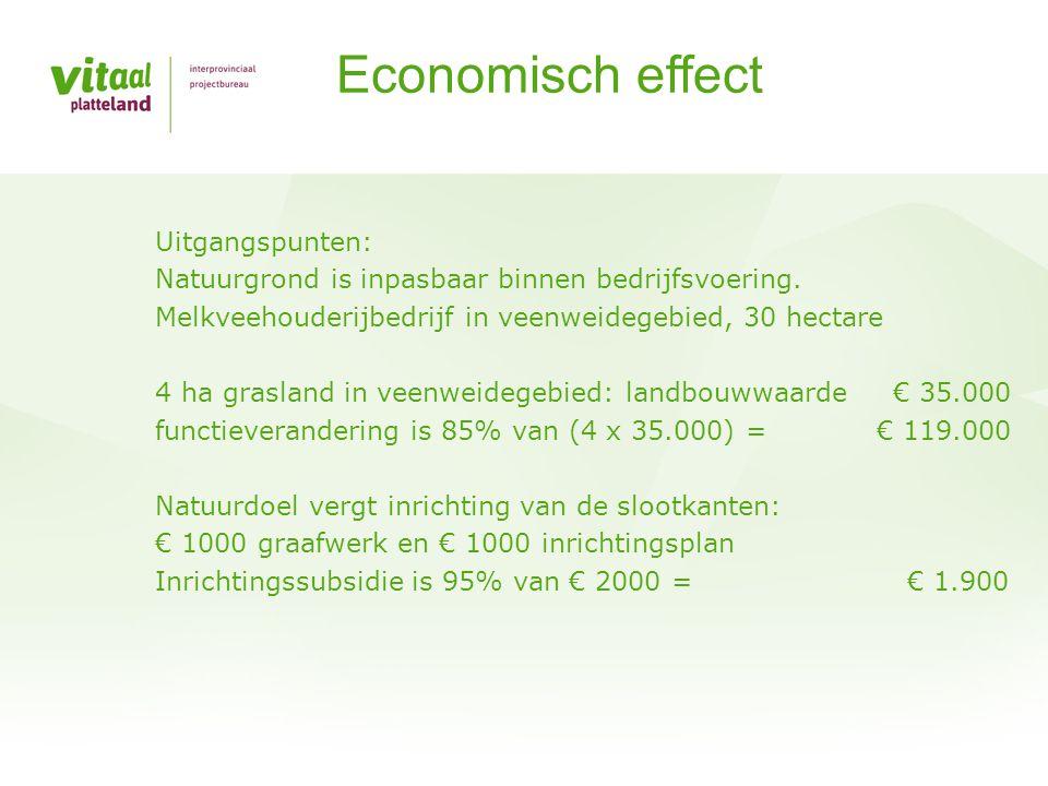 Economisch effect Uitgangspunten: