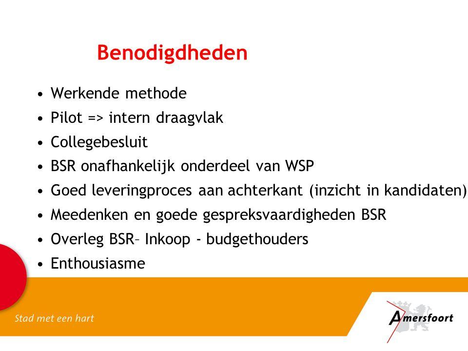Benodigdheden Werkende methode Pilot => intern draagvlak