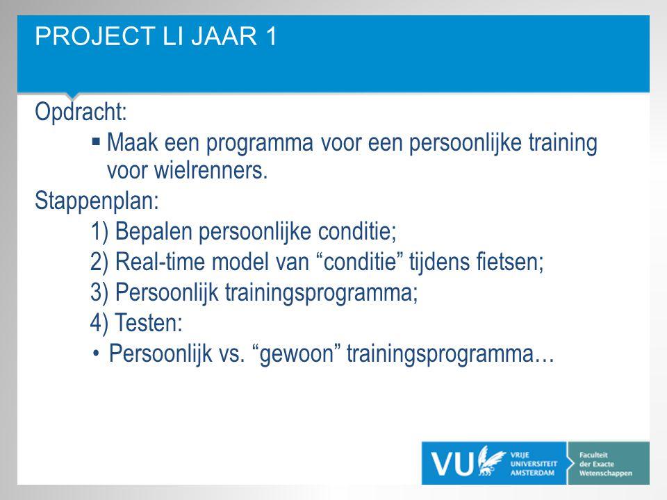 Project LI jaar 1 Opdracht: Maak een programma voor een persoonlijke training voor wielrenners. Stappenplan: