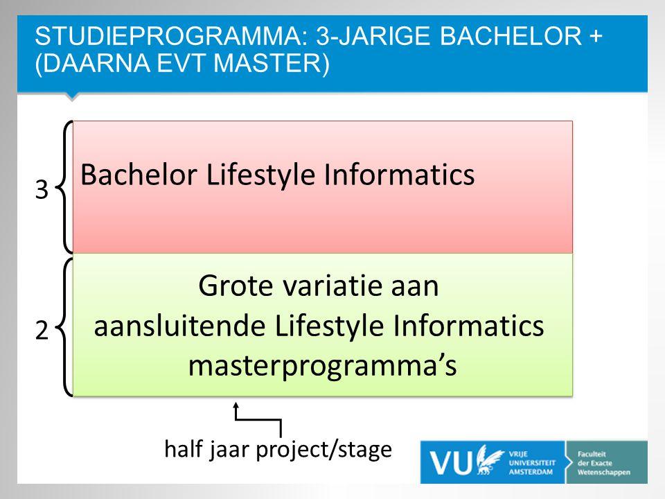 Studieprogramma: 3-jarige Bachelor + (daarna evt Master)