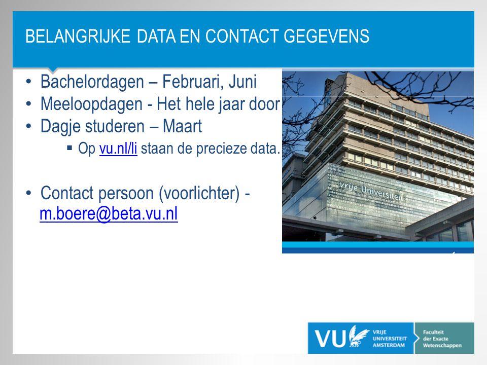Belangrijke data en contact gegevens