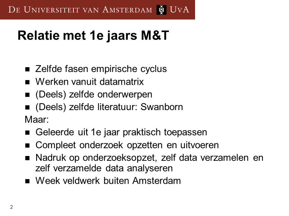 Relatie met 1e jaars M&T Zelfde fasen empirische cyclus