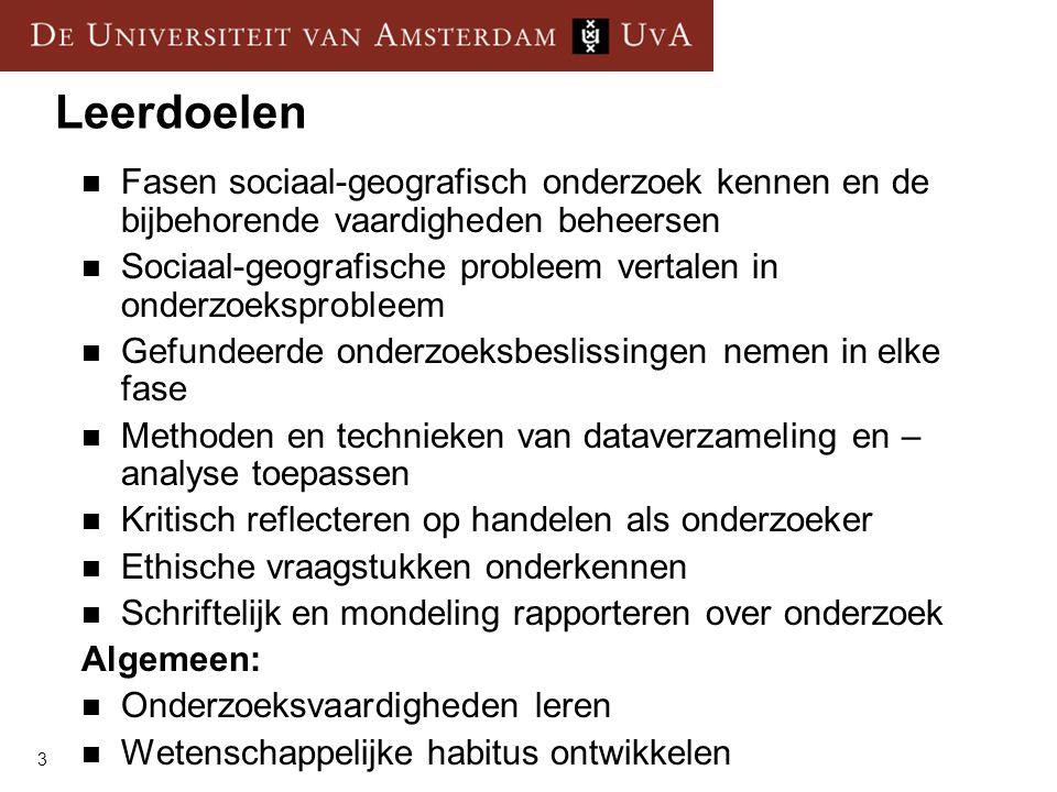 Leerdoelen Fasen sociaal-geografisch onderzoek kennen en de bijbehorende vaardigheden beheersen.
