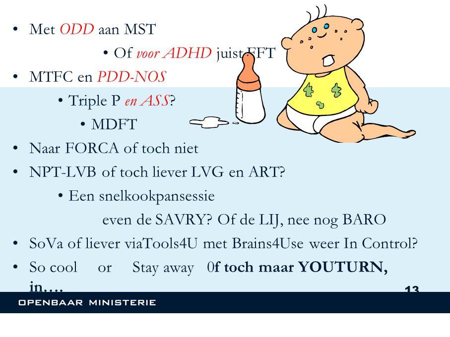 Met ODD aan MST Of voor ADHD juist FFT. MTFC en PDD-NOS. Triple P en ASS MDFT. Naar FORCA of toch niet.