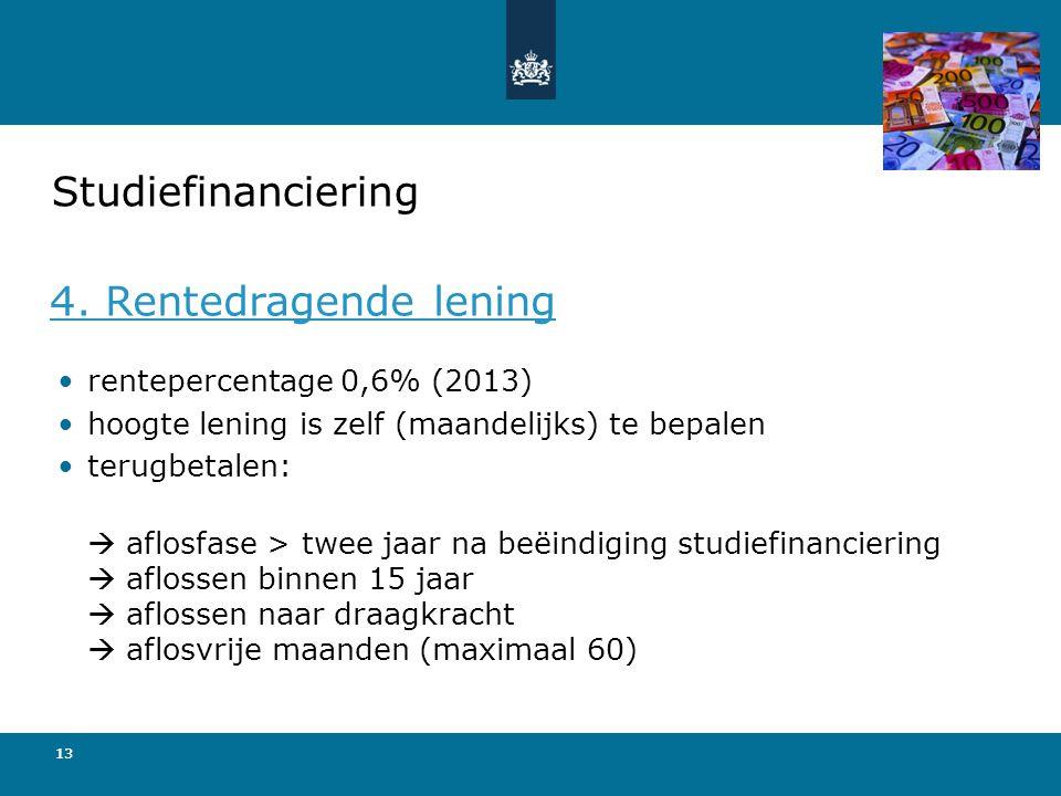 Studiefinanciering 4. Rentedragende lening rentepercentage 0,6% (2013)