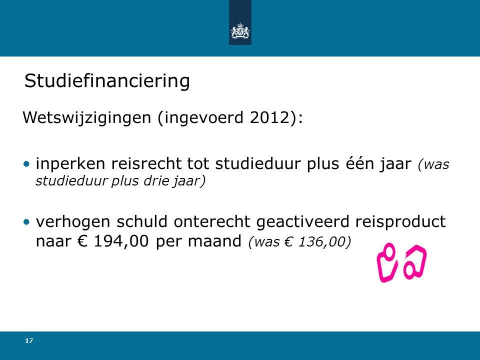 Studiefinanciering Wetswijzigingen (ingevoerd 2012):