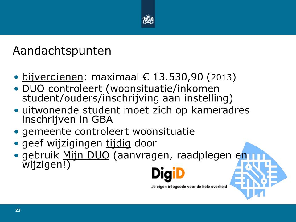 Aandachtspunten bijverdienen: maximaal € 13.530,90 (2013)