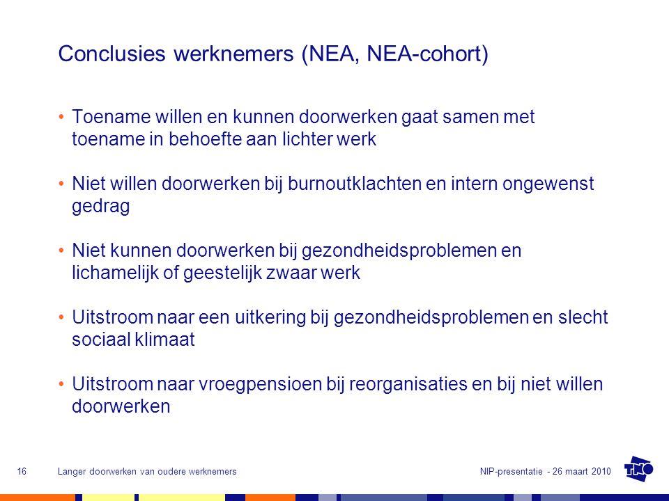 Conclusies werknemers (NEA, NEA-cohort)