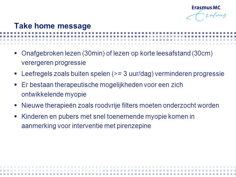 Take home message Onafgebroken lezen (30min) of lezen op korte leesafstand (30cm) verergeren progressie.