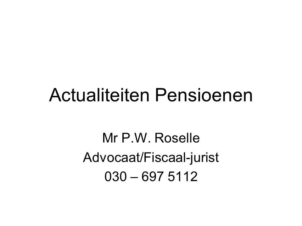 Actualiteiten Pensioenen