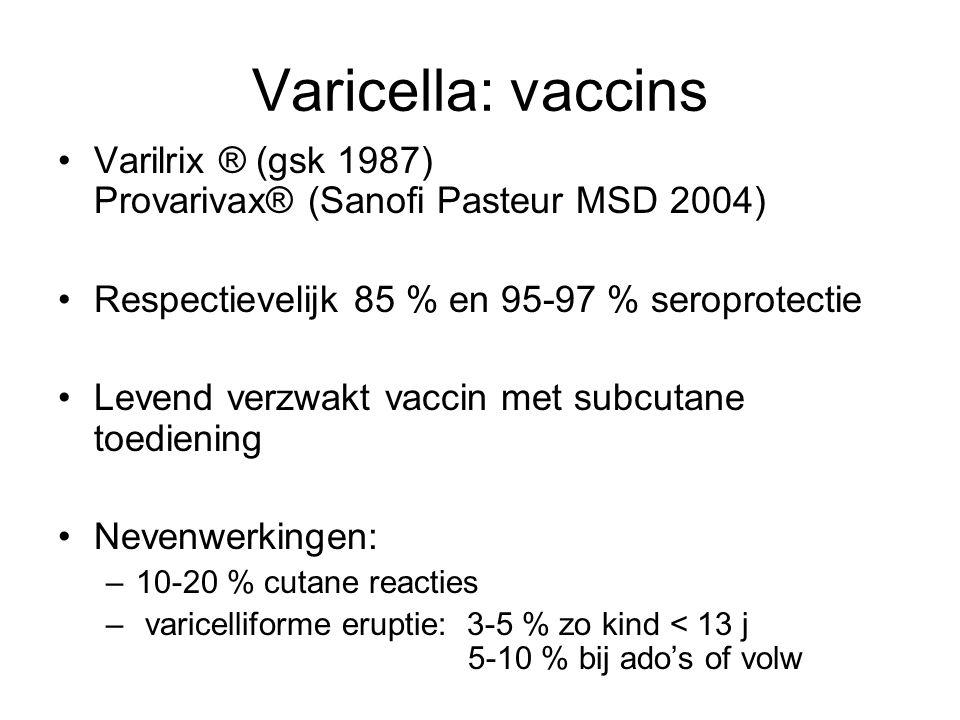 Varicella: vaccins Varilrix ® (gsk 1987) Provarivax® (Sanofi Pasteur MSD 2004)