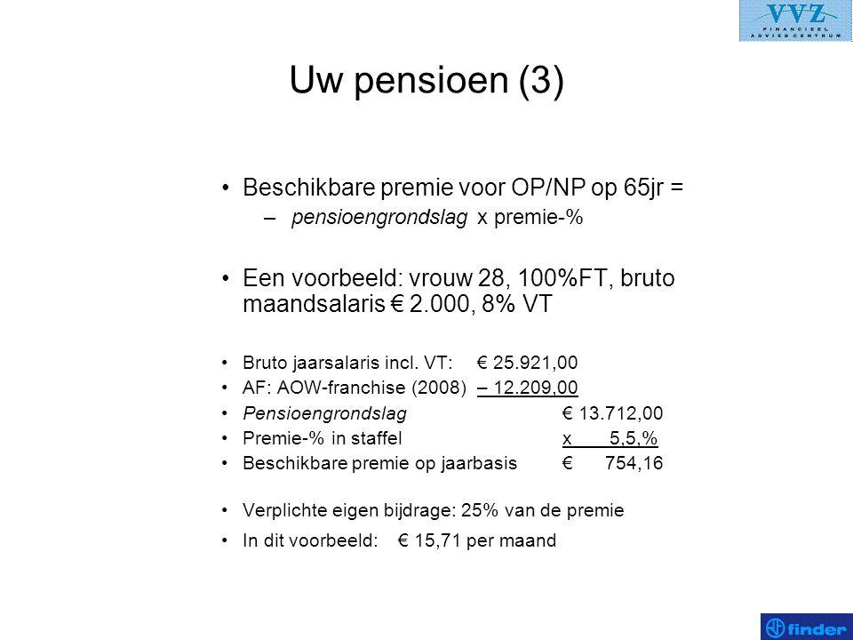 Uw pensioen (3) Beschikbare premie voor OP/NP op 65jr =