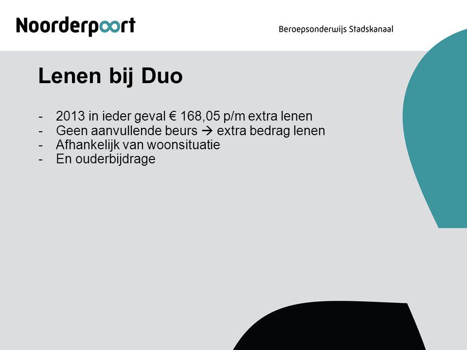Lenen bij Duo 2013 in ieder geval € 168,05 p/m extra lenen