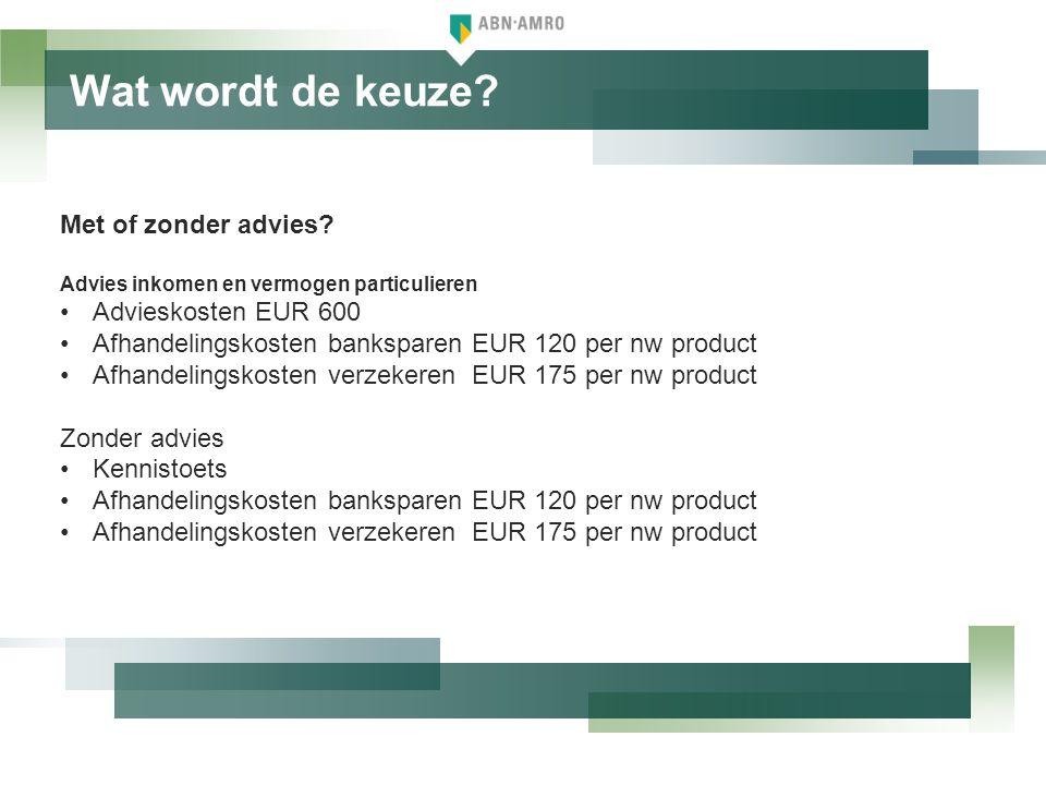 Wat wordt de keuze Met of zonder advies Advieskosten EUR 600