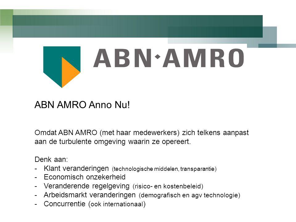 ABN AMRO Anno Nu! Omdat ABN AMRO (met haar medewerkers) zich telkens aanpast aan de turbulente omgeving waarin ze opereert.