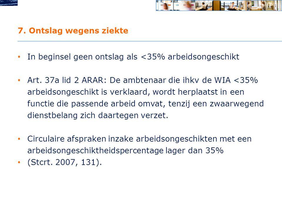 7. Ontslag wegens ziekte In beginsel geen ontslag als <35% arbeidsongeschikt.
