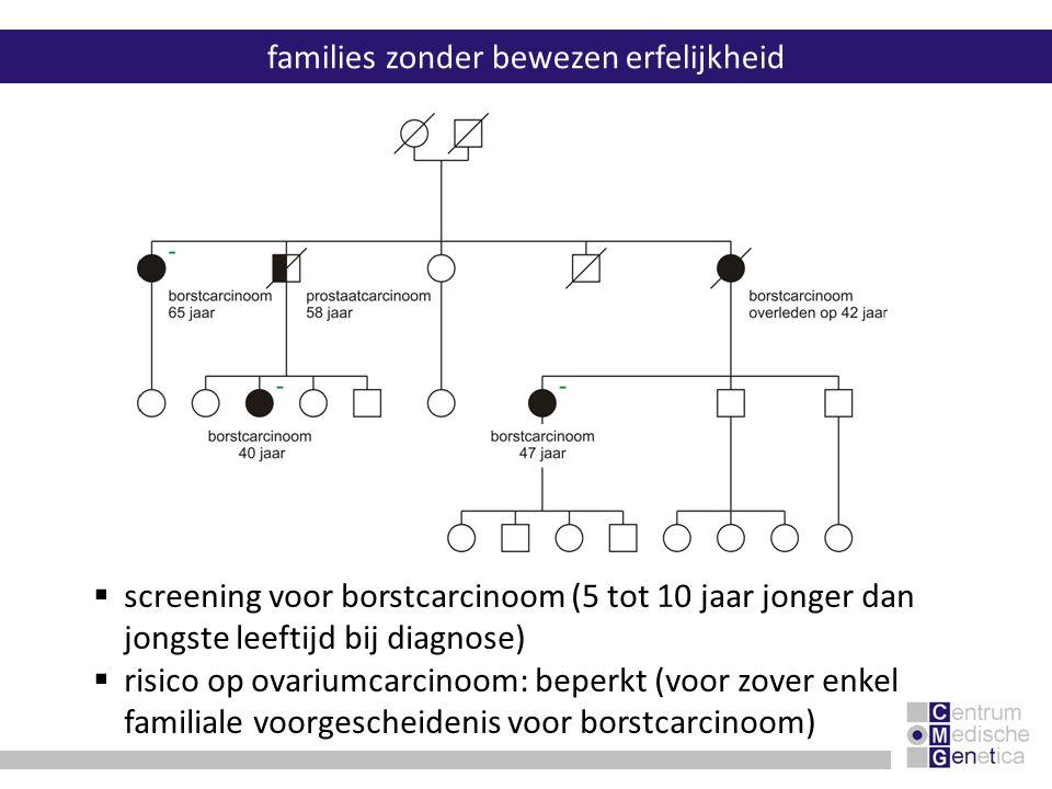 families zonder bewezen erfelijkheid