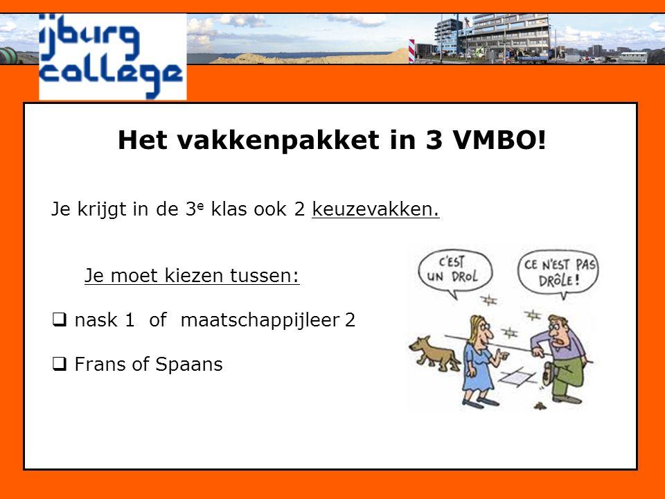 Het vakkenpakket in 3 VMBO!