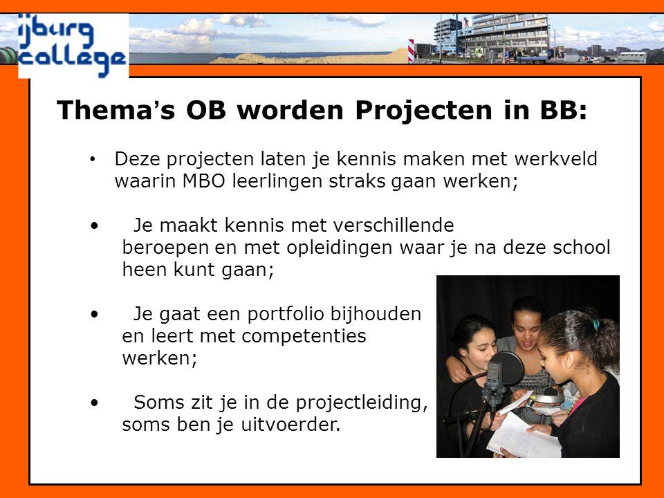 Thema's OB worden Projecten in BB: