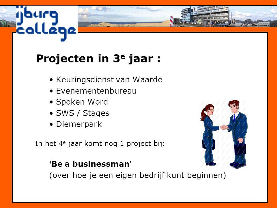 Projecten in 3e jaar : Keuringsdienst van Waarde Evenementenbureau