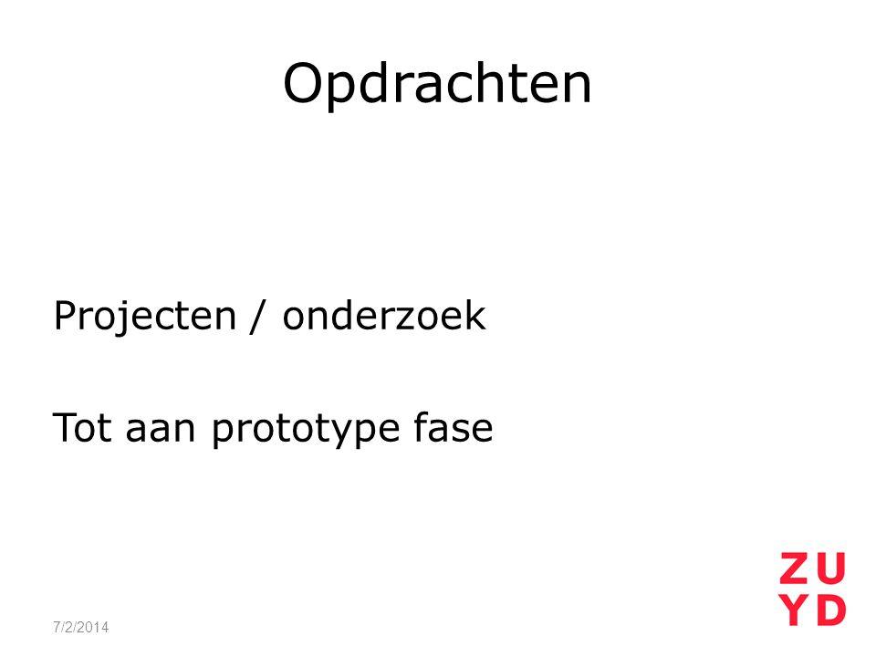 Opdrachten Projecten / onderzoek Tot aan prototype fase 4/3/2017