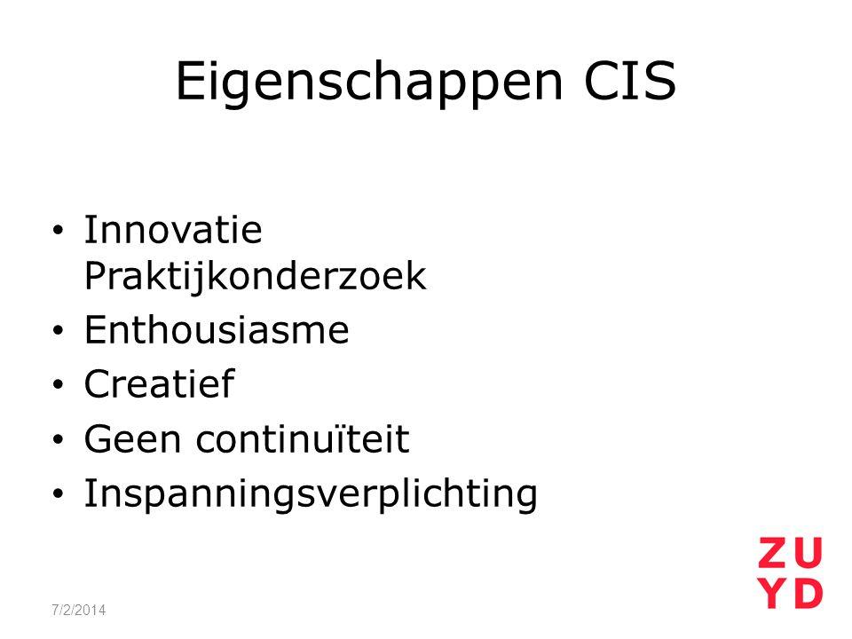Eigenschappen CIS Innovatie Praktijkonderzoek Enthousiasme Creatief