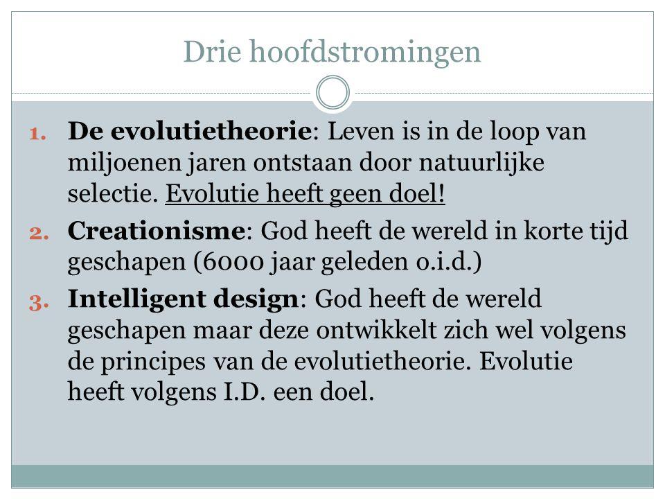 Drie hoofdstromingen De evolutietheorie: Leven is in de loop van miljoenen jaren ontstaan door natuurlijke selectie. Evolutie heeft geen doel!