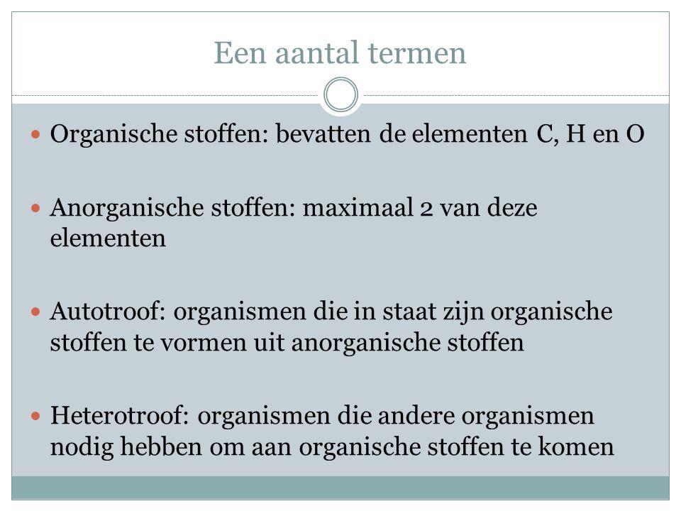 Een aantal termen Organische stoffen: bevatten de elementen C, H en O