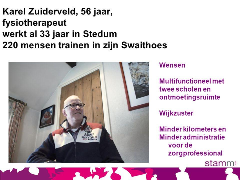 Karel Zuiderveld, 56 jaar, fysiotherapeut werkt al 33 jaar in Stedum 220 mensen trainen in zijn Swaithoes