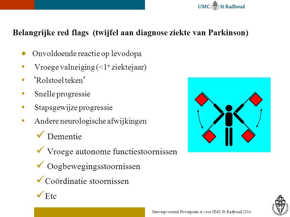 Belangrijke red flags (twijfel aan diagnose ziekte van Parkinson)