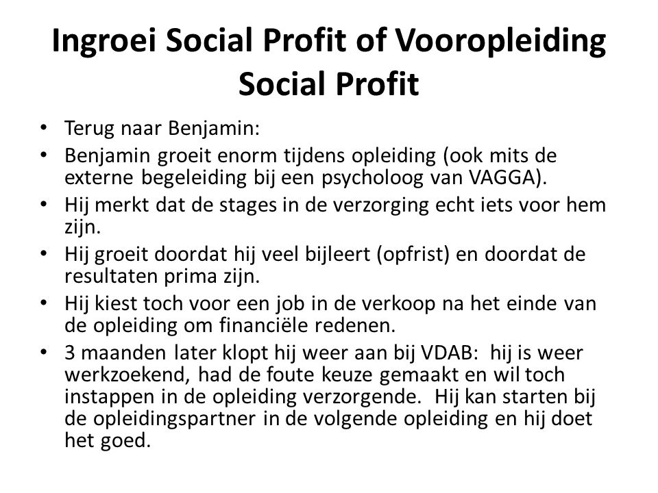 Ingroei Social Profit of Vooropleiding Social Profit