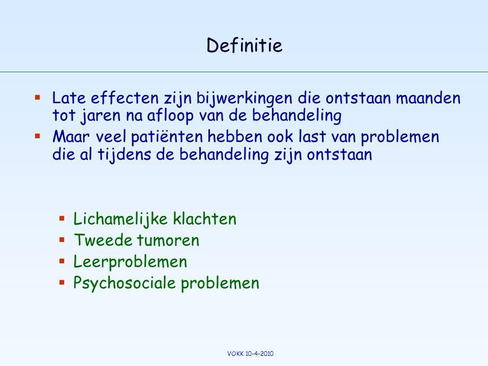 Definitie Late effecten zijn bijwerkingen die ontstaan maanden tot jaren na afloop van de behandeling