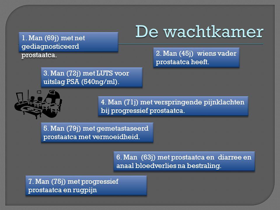 De wachtkamer 1. Man (69j) met net gediagnosticeerd prostaatca.