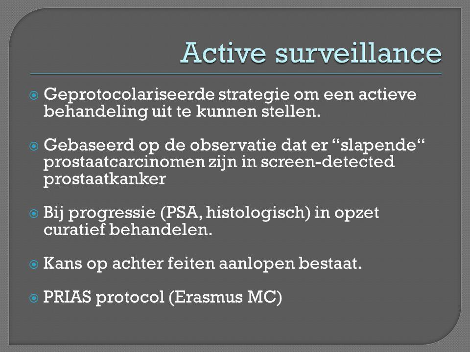 Active surveillance Geprotocolariseerde strategie om een actieve behandeling uit te kunnen stellen.