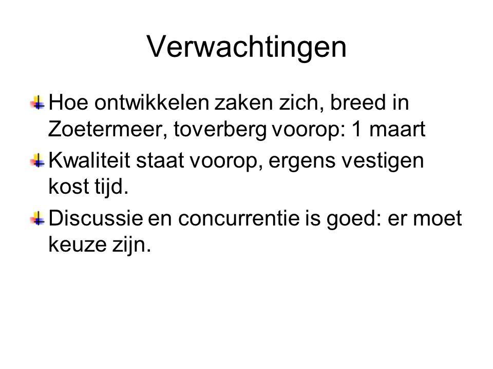 Verwachtingen Hoe ontwikkelen zaken zich, breed in Zoetermeer, toverberg voorop: 1 maart. Kwaliteit staat voorop, ergens vestigen kost tijd.