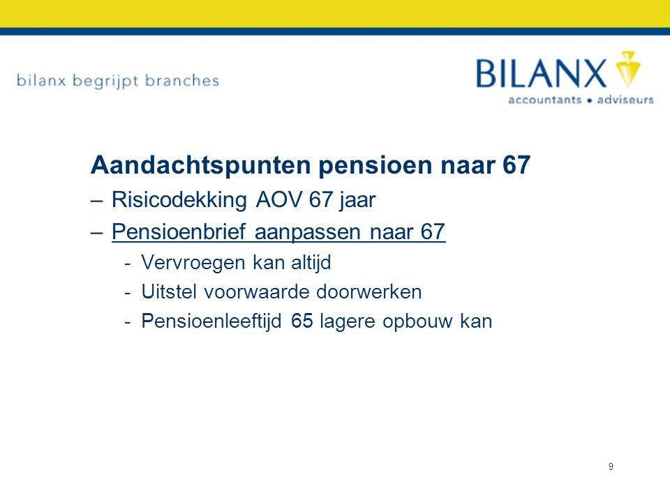 Aandachtspunten pensioen naar 67