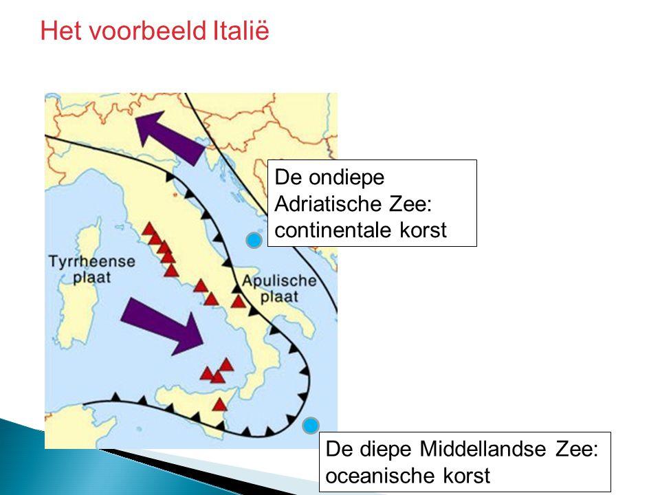 Het voorbeeld Italië De ondiepe Adriatische Zee: continentale korst
