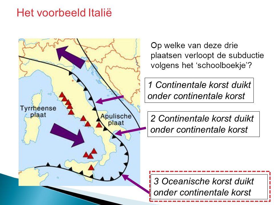 Het voorbeeld Italië 1 Continentale korst duikt